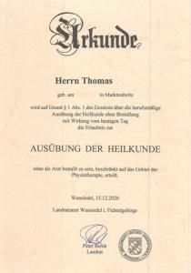 Thomas ab 1. Januar 2021 Tätigkeit als sektoraler Heilpraktiker der Physiotherapie
