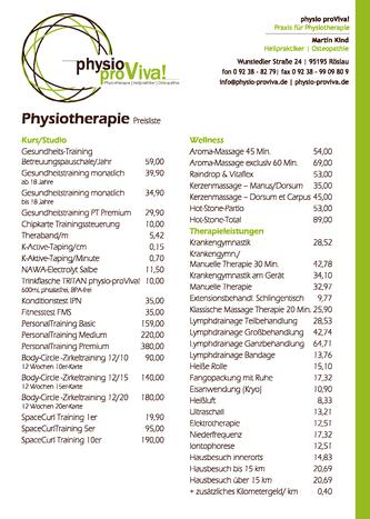 Preise Physiotherapie ab 01/2020